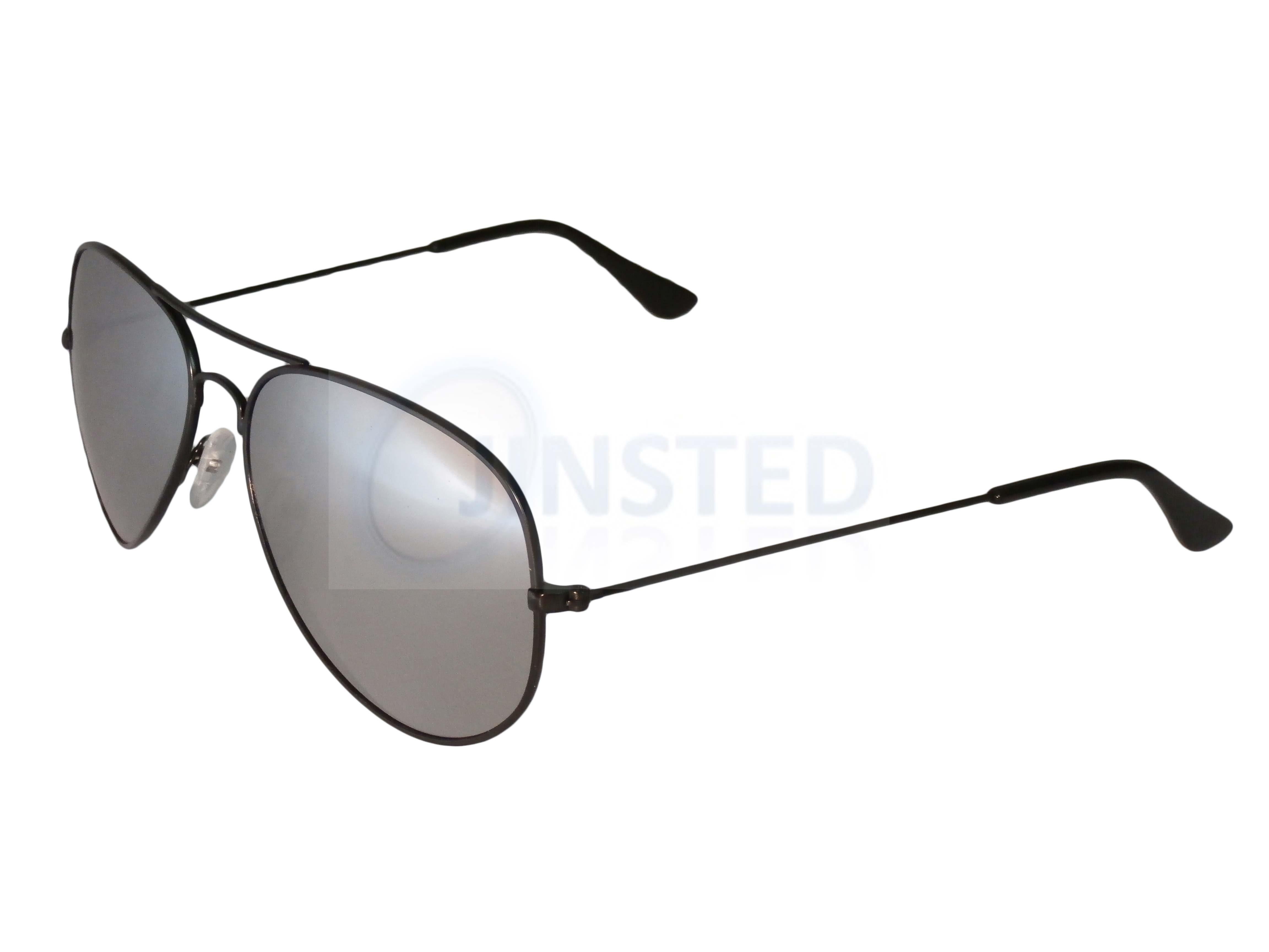 Adult Pilot Sunglasses Silver Mirrored Reflective Lens Sunnies Black Frame AA006