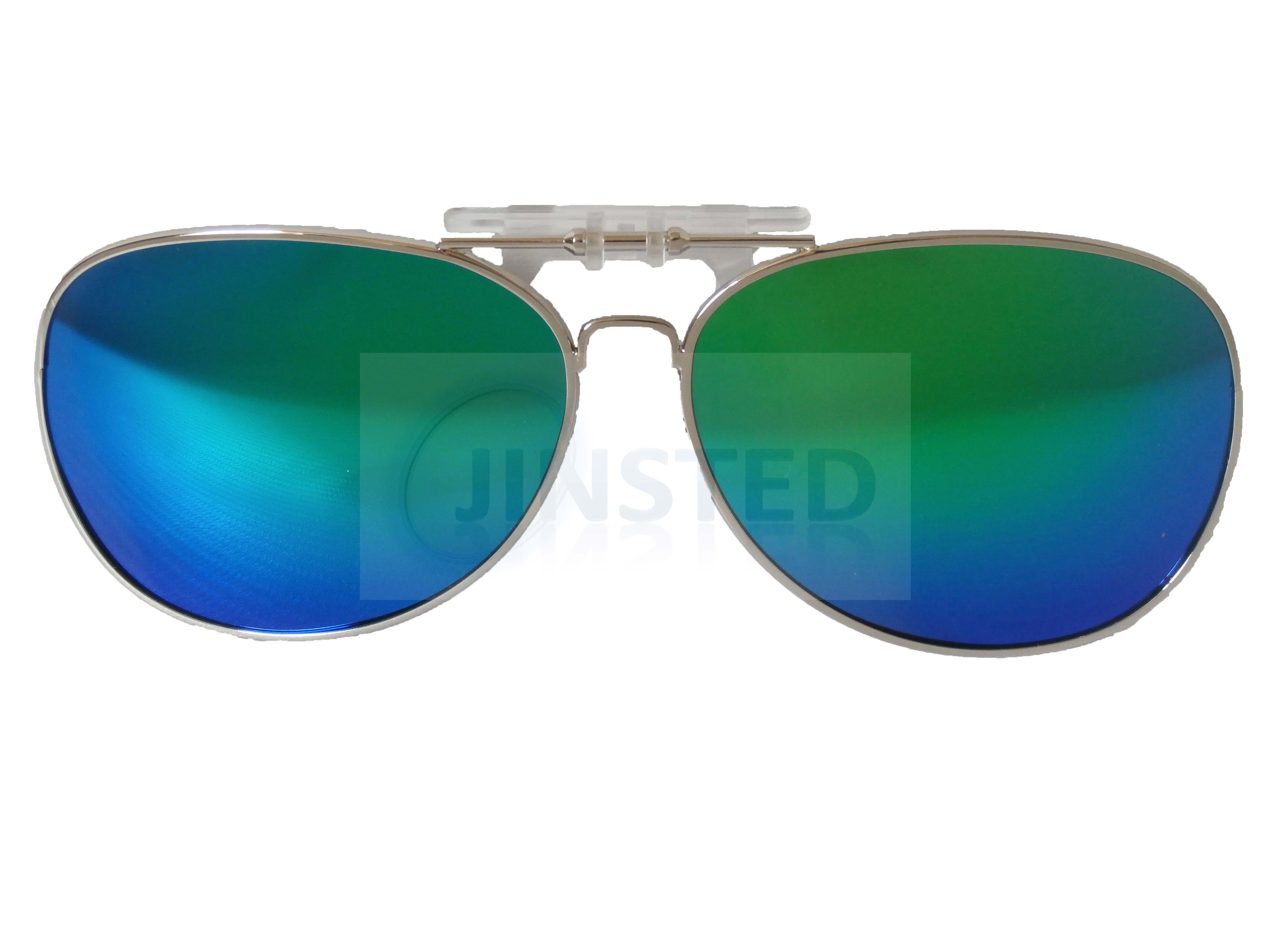 83b04e324e Green Mirrored Pilot Sunglasses Polarised Polarized Clip On Shades ...