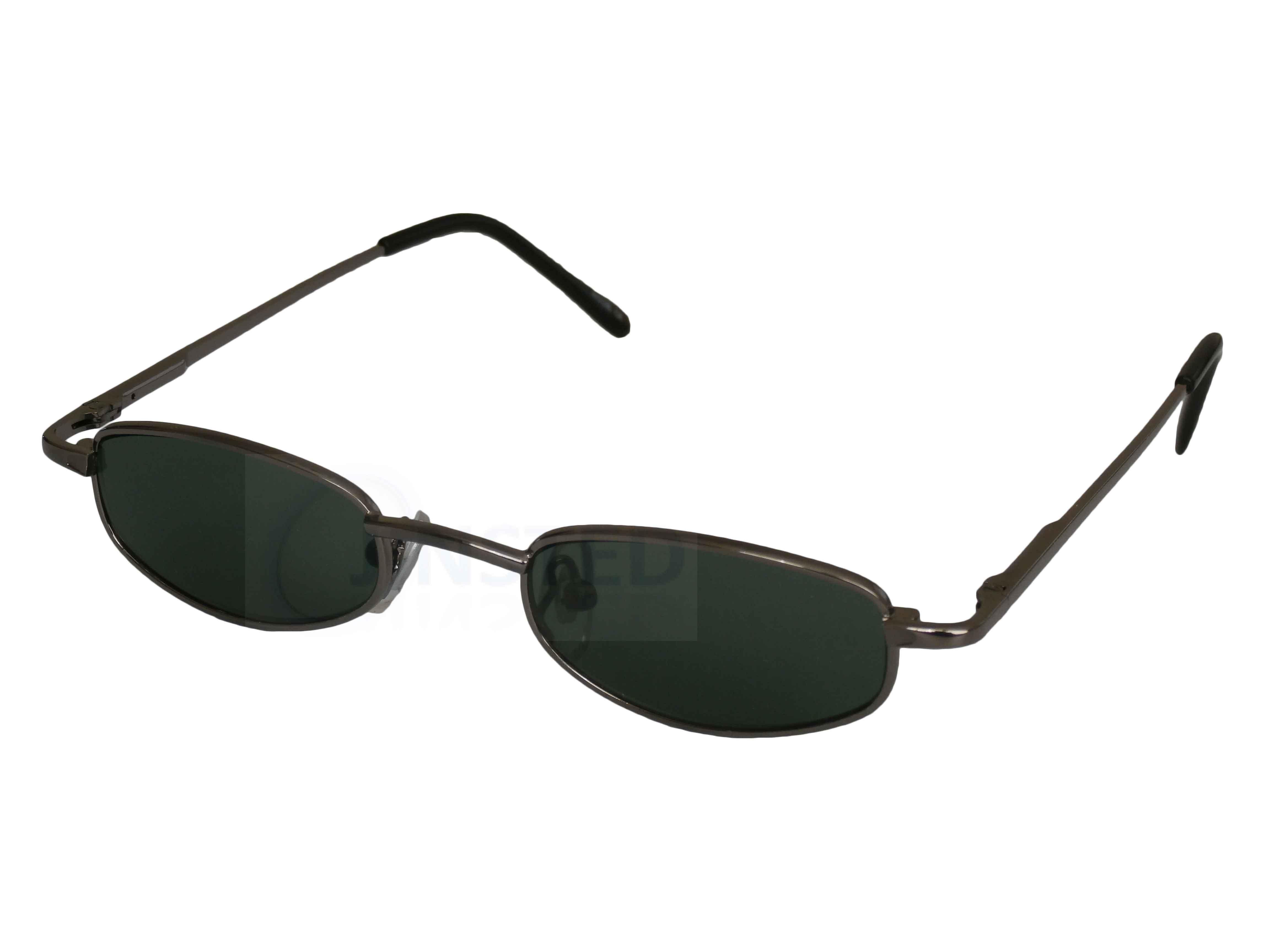 fcdd18f7ed Pequeño Alta Calidad Gafas de Sol Verde Lentes Plateada Montura ...