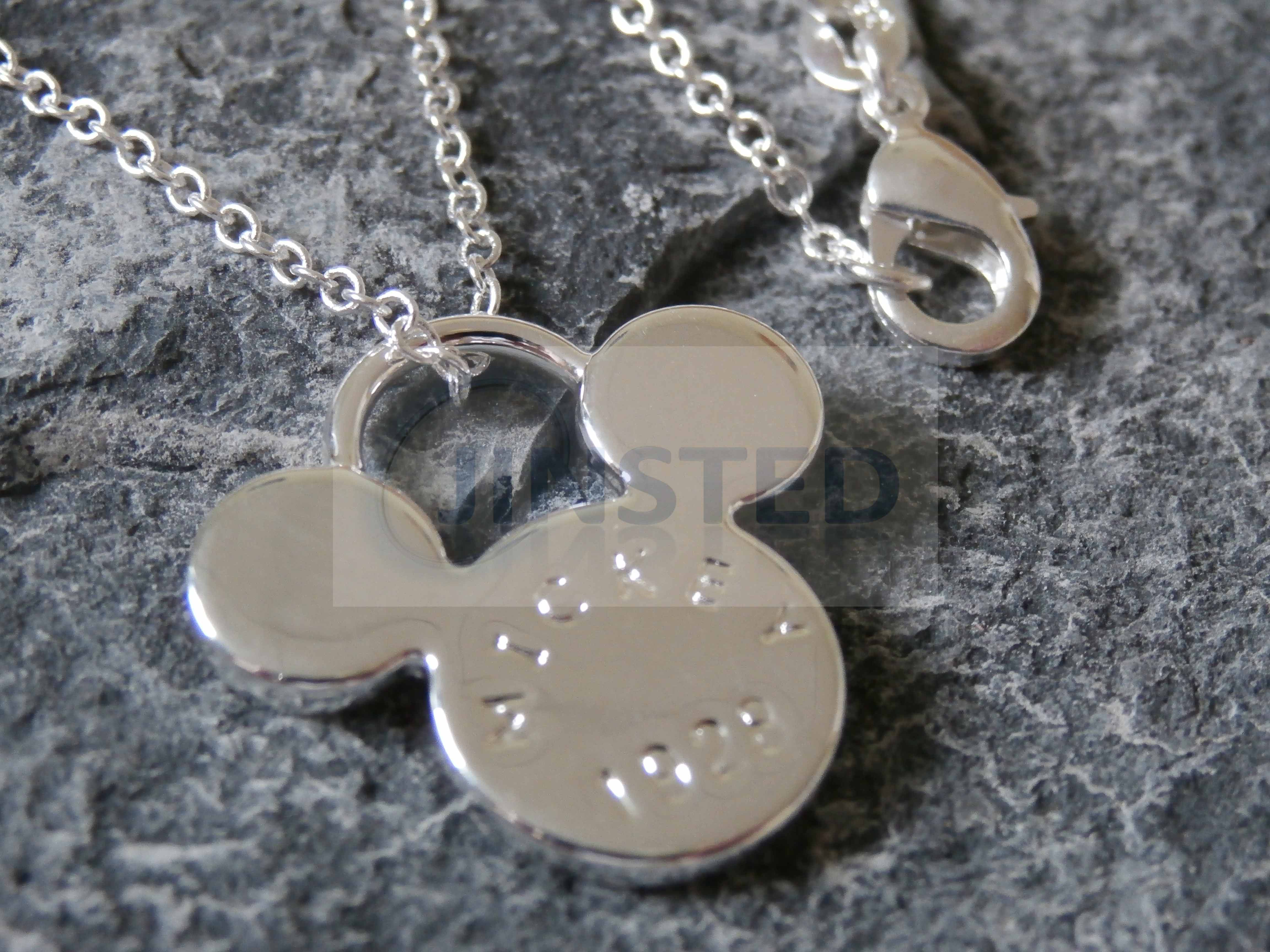 Silver necklace disneys mickey mouse pendant chain charm costume silver necklace with mickey mouse pendant aloadofball Image collections